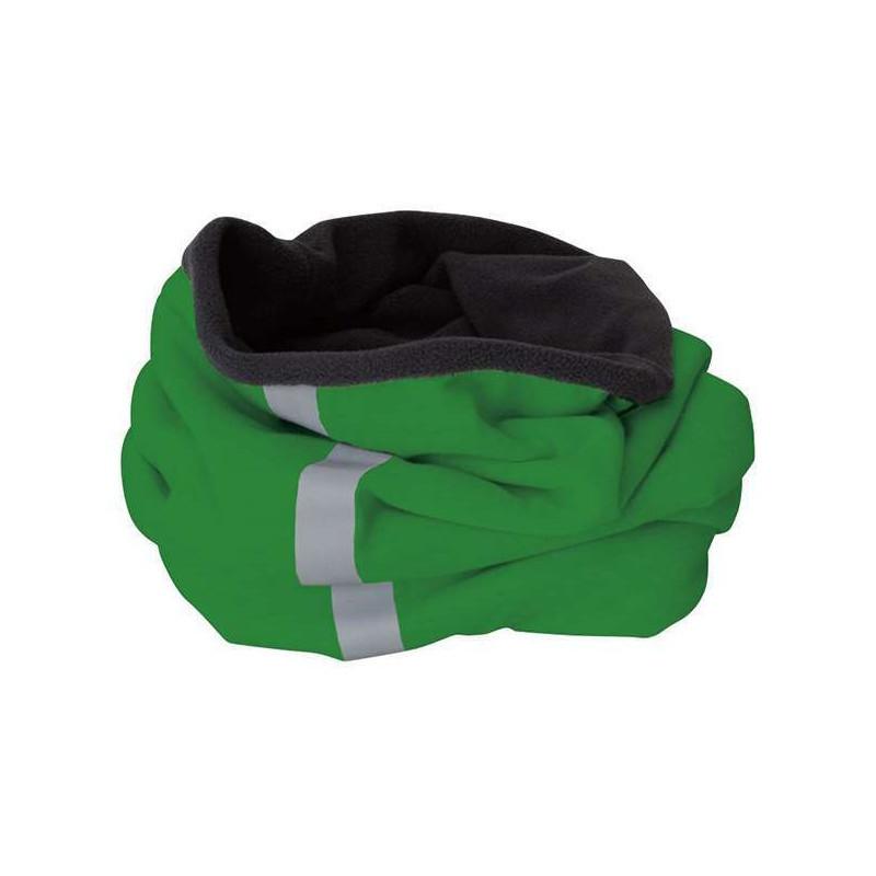 Стильный молодежный шарф-хомут (бафф) со светоотражающей полосой зеленый