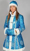 Новогодний костюм Снегурочки взрослый с пайетками р 44-46 48-50