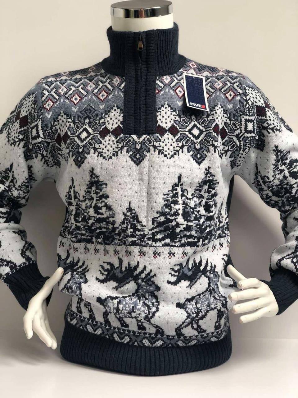 Теплий светр чоловічий під горло з оленями FIVE 5 Полюс