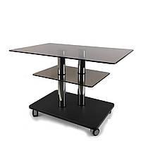 Стеклянный журнальный стол прямоугольный Commus Bravo Max P bb-venge-2chr60