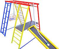 Детский спортивный Комплекс-уголок для дома и улицы: качели, горка, кольца, лестница, мат 145х145х120см 62482