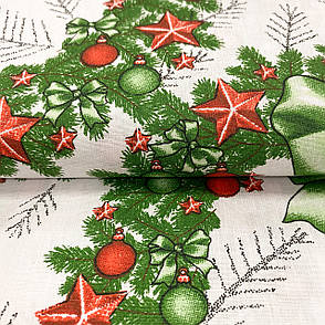 """Польская хлопковая ткань """"Рождественские венки с красными игрушками"""", фото 2"""