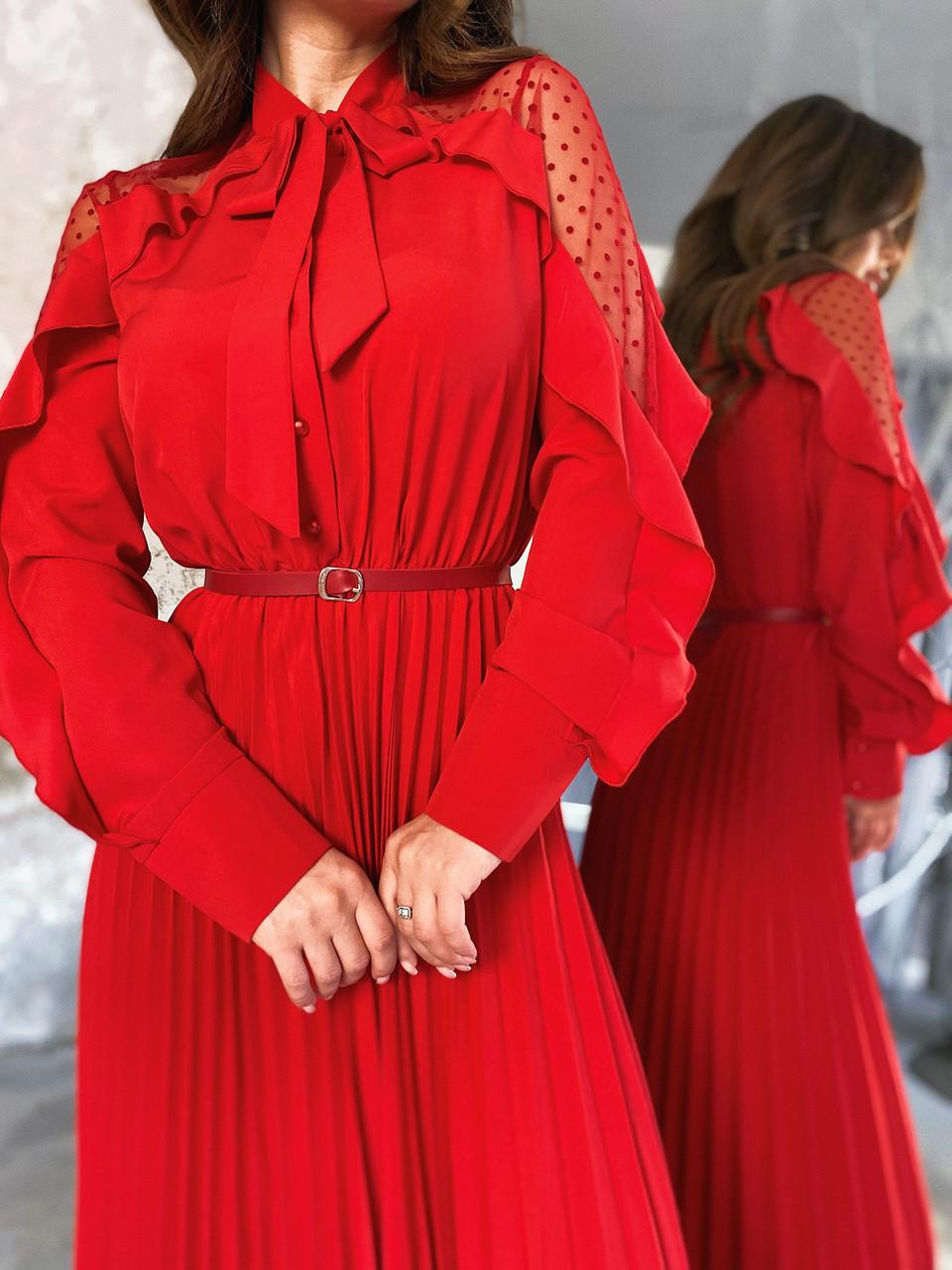Сукня з плісировка червоне, арт.1053