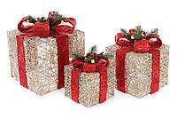 Світлодіодний декор Новорічні подарунки (набір 3 шт)