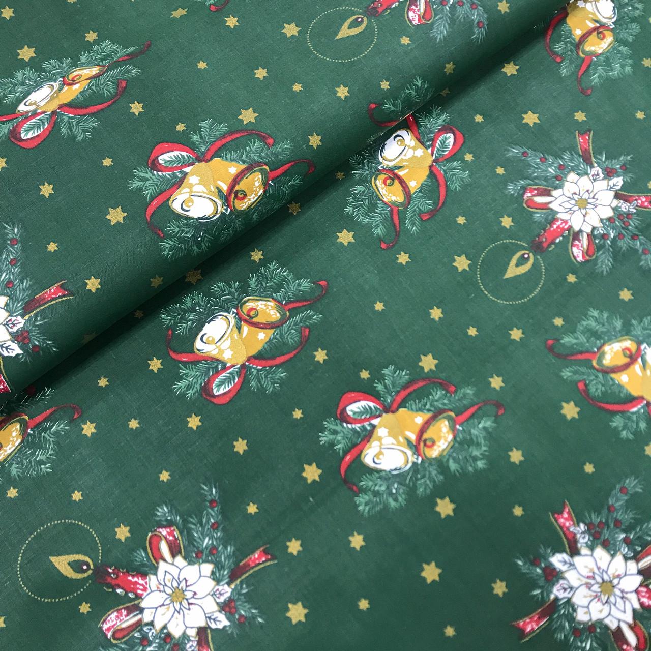 """Польская хлопковая ткань """"Колокольчики со свечкой в еловой ветке на зеленом"""""""