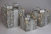 Новорічні фігури Подарунки (3шт) з підсвічуванням (2 режиму - з функцією миготіння і без