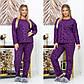 """Женский домашний костюм-пижама в больших размерах 812 """"Полар Жаккард"""" в расцветках, фото 6"""
