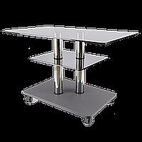 Журнальный столик на колесиках стекло прямоугольный Commus Bravo Max P gg-gray-2chr60