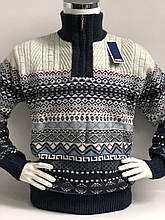 Теплий светр чоловічий з високим горлом і змійкою FIVE 5 красивим візерунком Ісландія