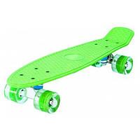 Детский скейт пенни-борд, Скейтборд. размер подножки 55х14 см. колеса с красивой подсветкой.(Зелёный)