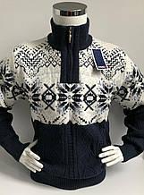 Теплий светр чоловічий з високим горлом і змійкою FIVE 5 Сніжинки