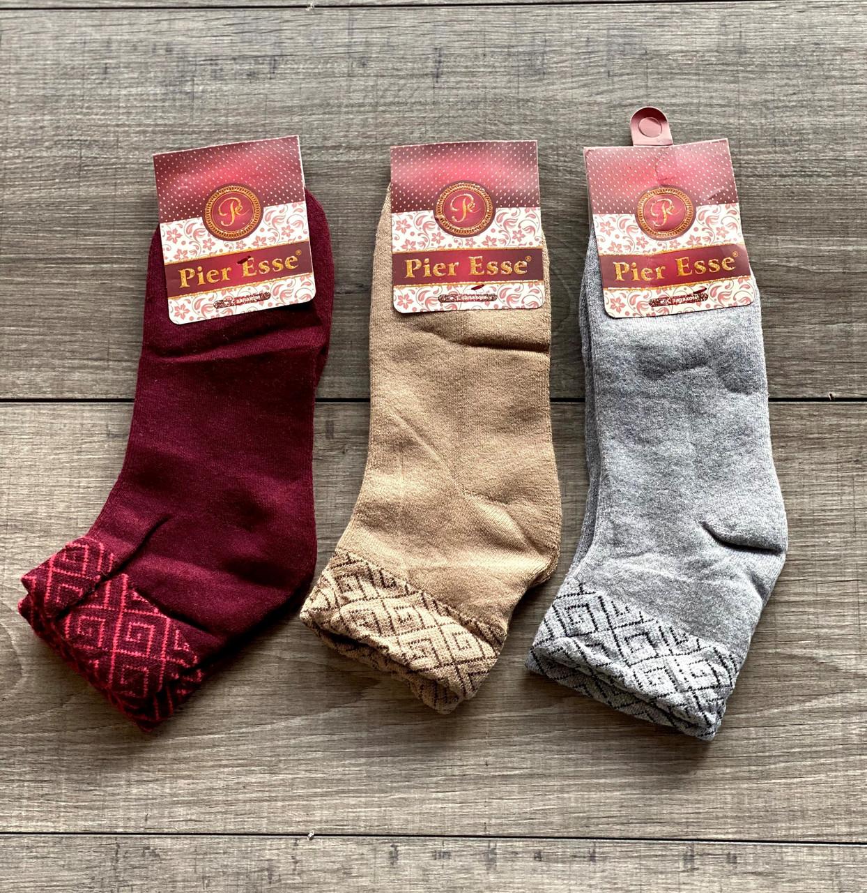 Жіночі шкарпетки махрові носки Pier Esse однотонні з орнаментом 35-40 12 шт в уп мікс кольорів
