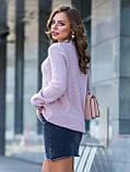 М-XL  Вязаный свитер с крупными косами на полочке терракотовый, фото 2