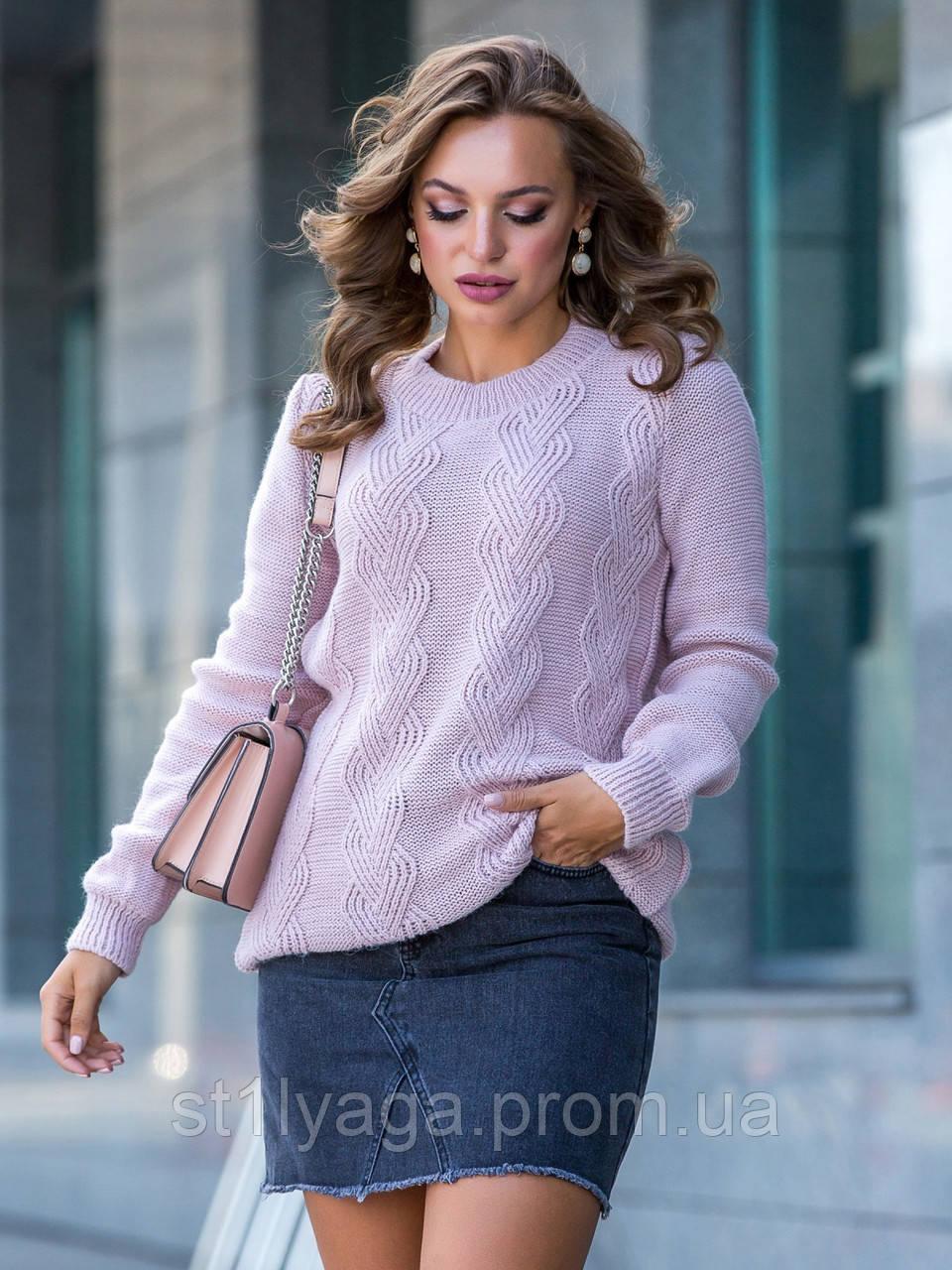 М-XL  Вязаный свитер с крупными косами на полочке терракотовый