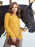 М-XL В'язаний светр з великими косами на поличці теракотовий, фото 3