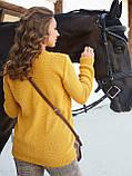 М-XL  Вязаный свитер с крупными косами на полочке терракотовый, фото 4