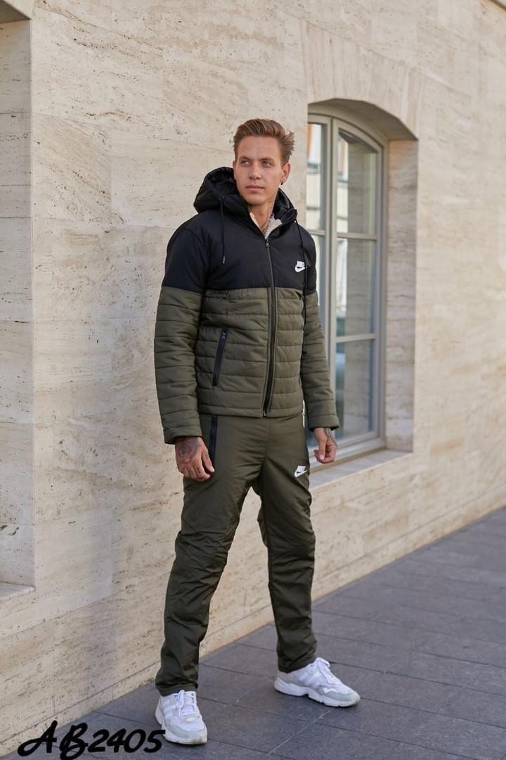 Мужской спортивный костюм из плащёвки утеплённый синтепоном и овчиной с 46 по 54 размер