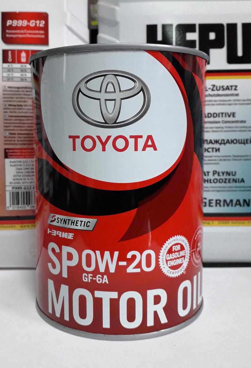 Оригинальное моторное масло TOYOTA SP GF6A 0W-20, 1л.