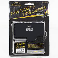 Автомобільний розгалужувач для прикурювача Lesko BM-003 USB*2 (3659-10581), фото 3
