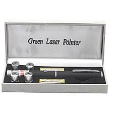 Лазерна указка Green Laser Pointer + 5 насадок Чорний, фото 2