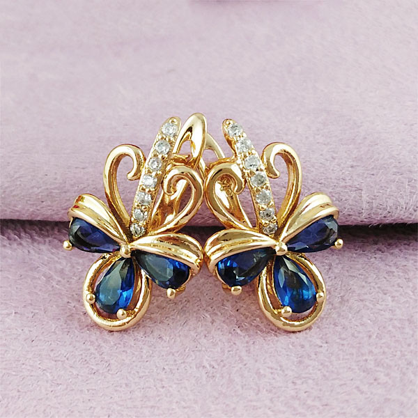 Серьги Xuping Jewelry Тамия синие медицинское золото позолота 18К английский замок А/В 1-0229