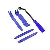 Набор инструментов съемников для снятия обшивки салона автомобиля Lesko 129G Blue (5938-18798)