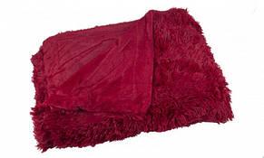 Хутряний плед покривало Травичка Євро 220х240 см Бордовий (1005703), фото 2