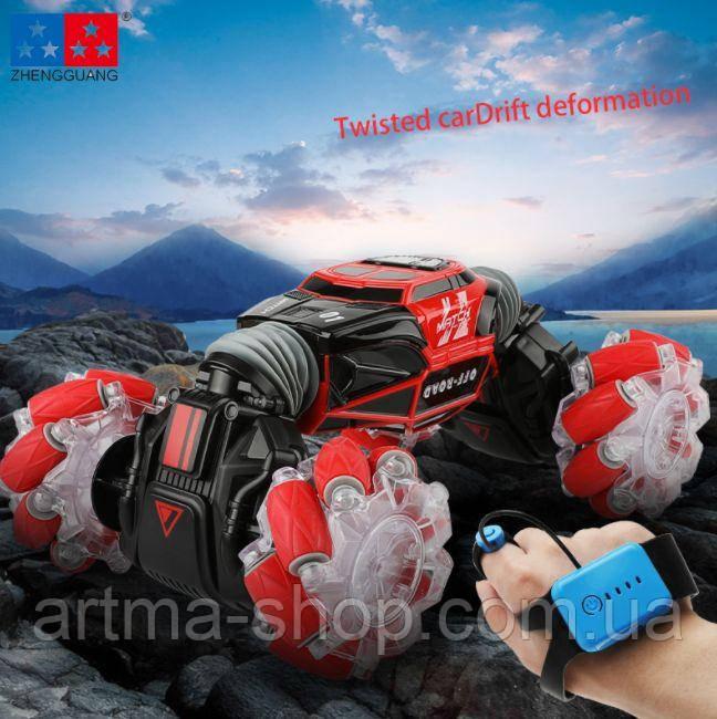 Радиоуправляемый внедорожник Твистер машинка ZHENGGUANG Hyper Skidding (часы + пульт) светомузыка Красная
