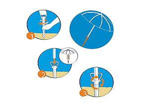 Бур для пляжного зонта HMD 39 см D 2.5 см Красный (127-12520357), фото 3
