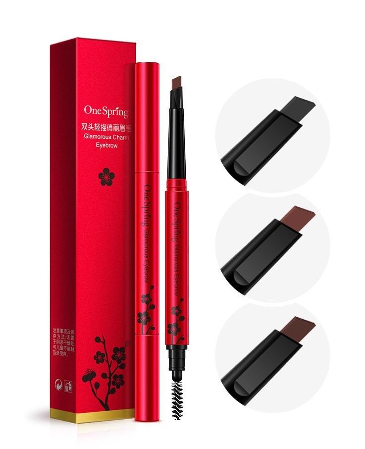 Карандаш для моделирования бровей с щеточкой ONESPRING Glamorous Charm Eyebrow №12 бежевый (0,4г)