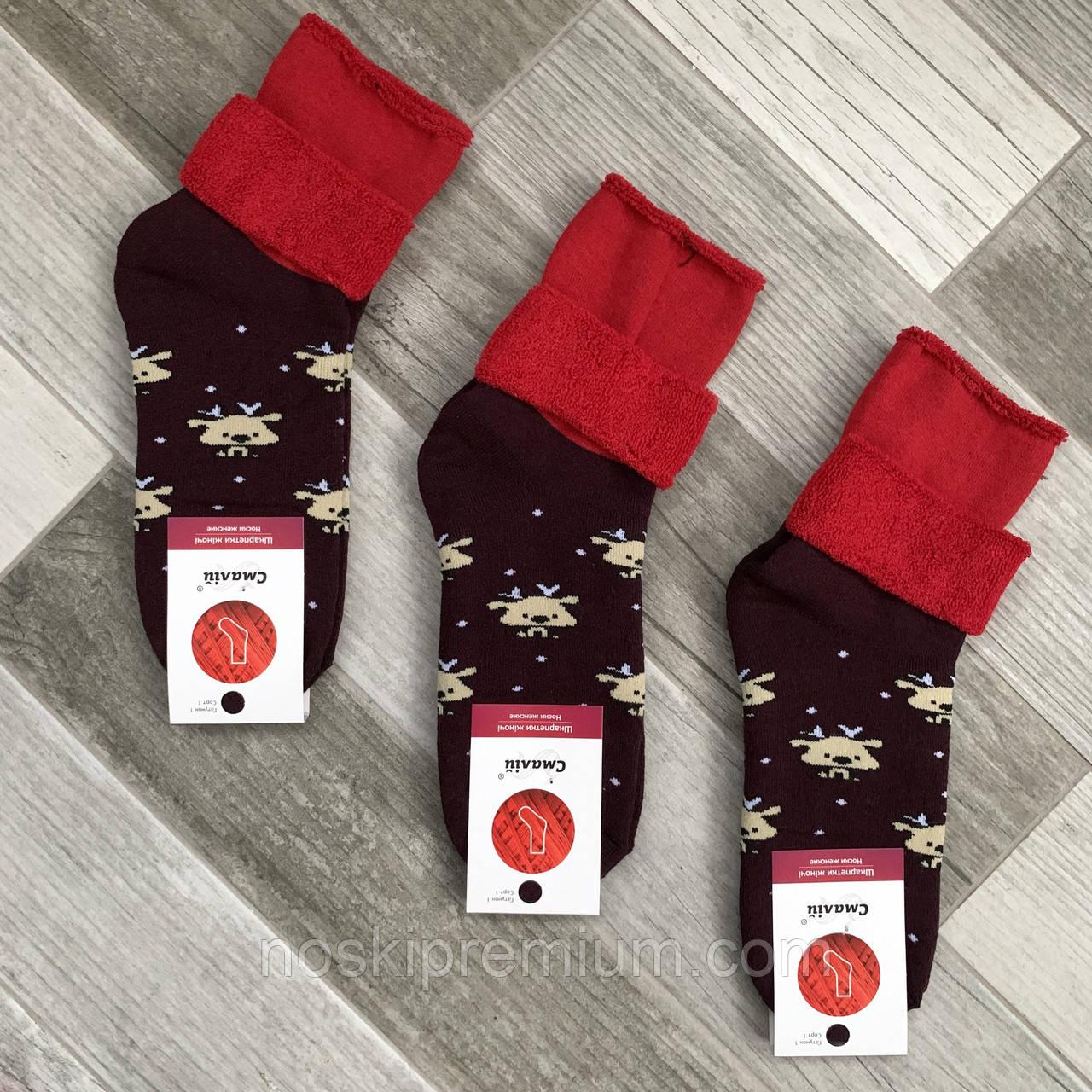 Носки женские махровые х/б без резинки с отворотом Смалий, рисунок 76 бордово-красные, 035022