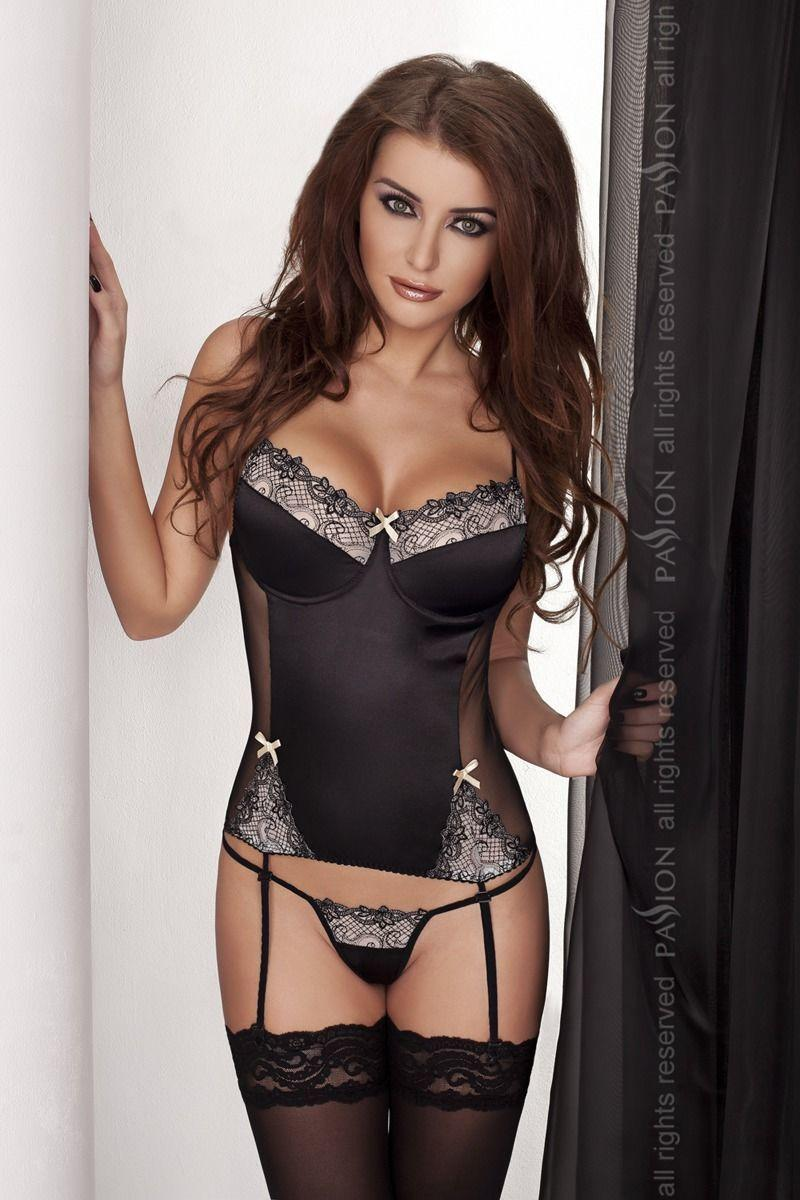 Корсет с пажами BRASILIANA CORSET black S/M - Passion Exclusive, стринги