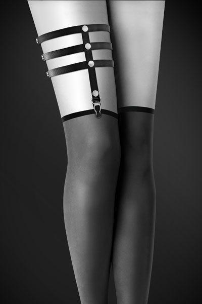 Гартер на ногу Bijoux Pour Toi - 3 THONGS Black, сексуальная подвязка, экокожа