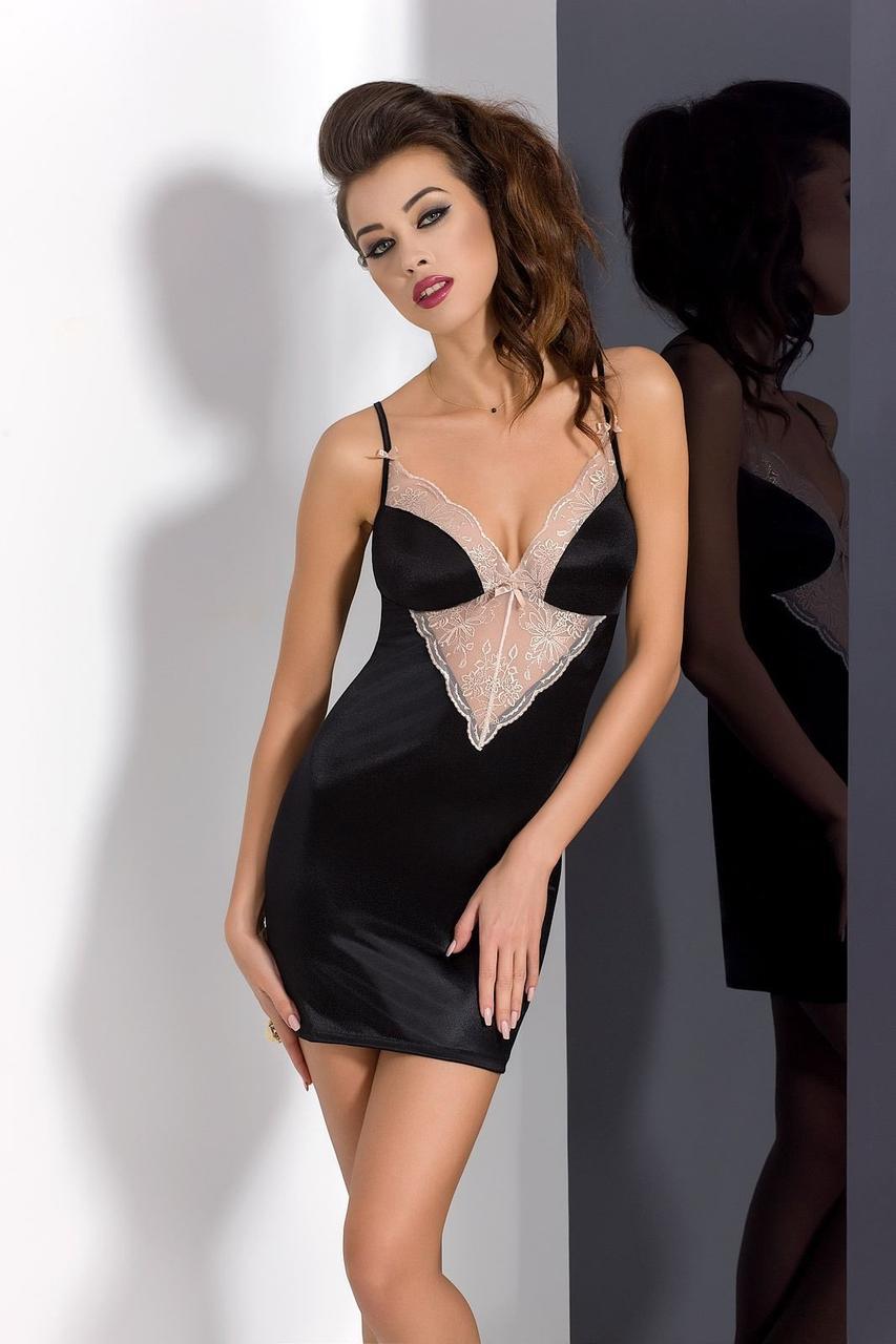 Сорочка приталенная с чашечками LOTUS CHEMISE black L/XL - Passion Exclusive, трусики