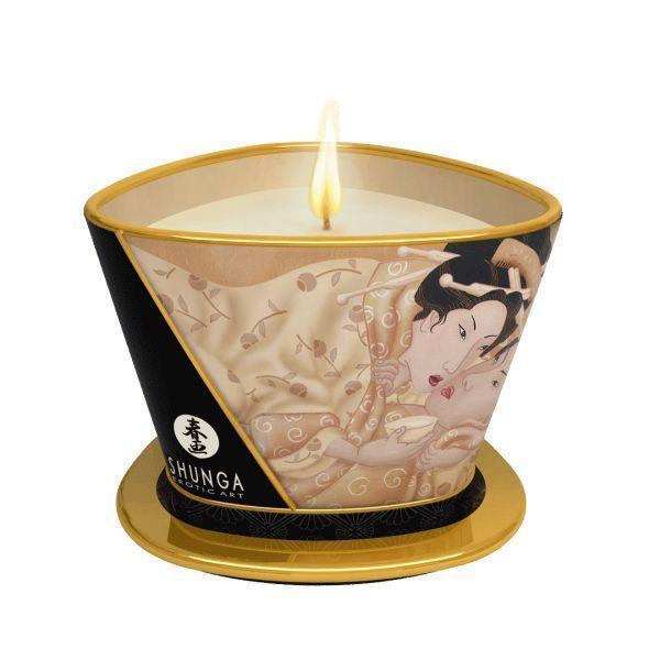 Массажная свеча Shunga Massage Candle - Vanilla Fetish (170 мл) с афродизиаками
