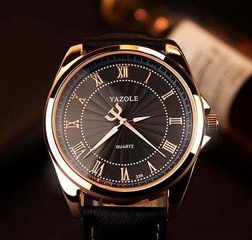 Люксові чоловічий годинник з чорним ремінцем код 293