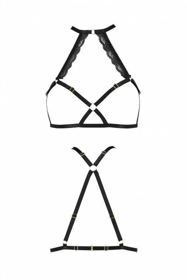 Портупея из стреп с кружевом LORRY BRA black L/XL - Passion Exclusive