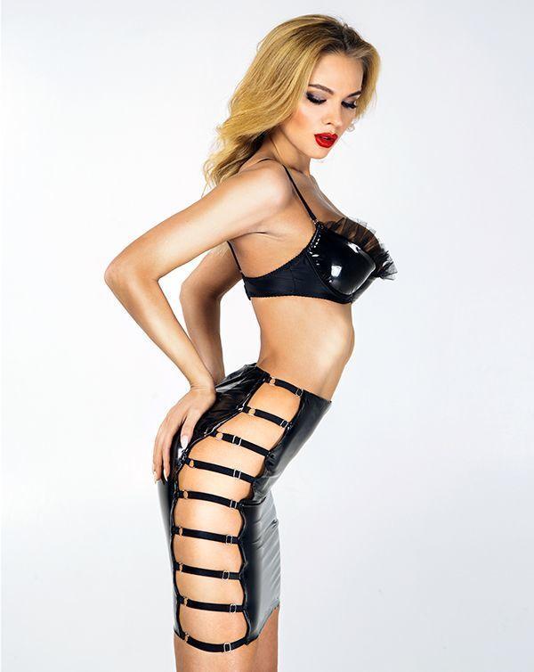 Лакированная юбка XS-L, разрезы с регулируемыми ремешками по бокам