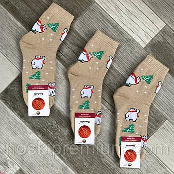Шкарпетки жіночі махрові х/б Смалій, 23-25 розмір, малюнок 174 бежеві, 036045