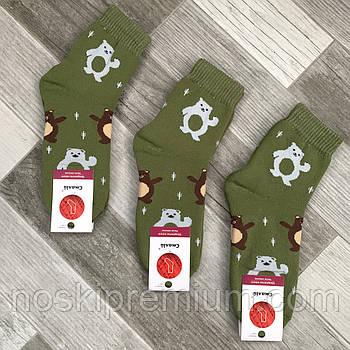 Шкарпетки жіночі махрові х/б Смалій, 23-25 розмір, малюнок 187 зелені, 036054