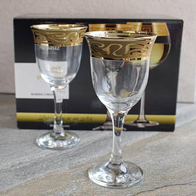 Фужери для вина з золотими хвилями Гусь-Хрустальний Лагуна 240 мл 6 шт (EAV259-863/S), фото 2