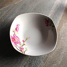 Квадратный белый салатник с сакурой 18 см Сакура (4371), фото 3