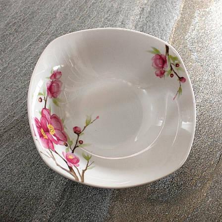 Квадратный белый салатник с сакурой 18 см Сакура (4371), фото 2