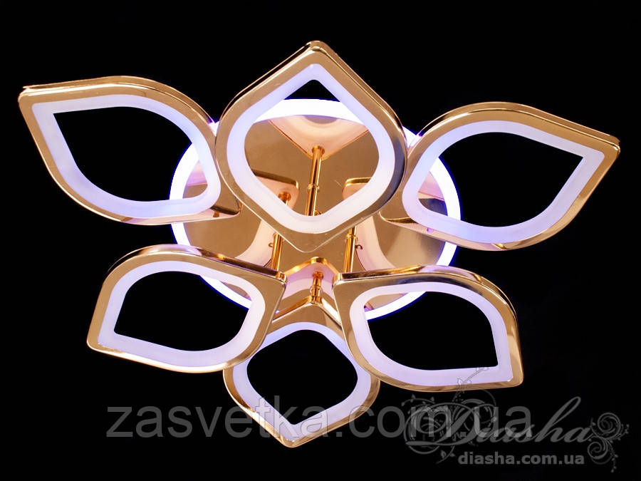 Потолочная люстра с диммером и LED подсветкой, цвет золото, хром 115W