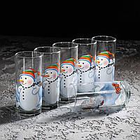"""Набір високих стаканів 280 мл """"Сніговик"""" 6 шт"""