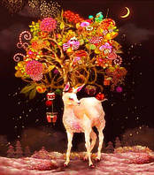 """Алмазная мозаика """"Рождественский олень"""",  без рамки"""