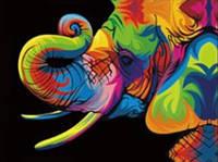"""Алмазная мозаика """"Цветной слон"""", без рамки"""