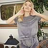 Плюшевая пижама (футболка и шорты) серая, фото 2