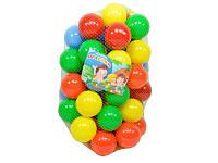 Шарики для сухих бассейнов, 74 мм 30 шт в сетке. Кульки для бассейну. Сухі бассейни. Мячики для бассейна.