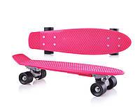 Игрушка детская «Скейт» пенни-борд, Скейтборд для девочки малиновый, без подсветки.